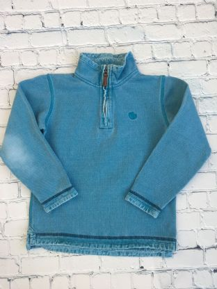 Fatface zip up blue long sleeved top age 6-7
